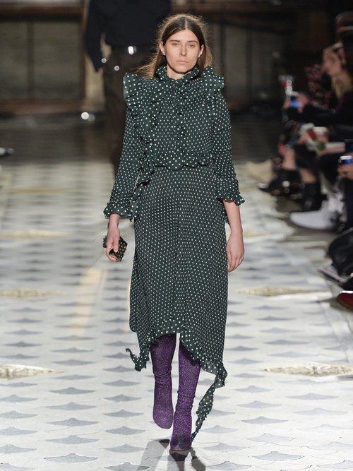 Ruffled-shoulder polka-dot print crepe dress by Vetements