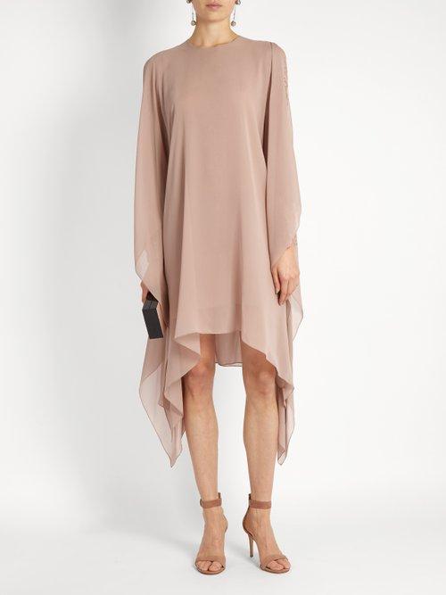 Lace-sleeved silk-georgette dress by Elie Saab
