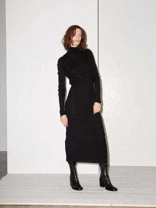Roll-neck ribbed fine-knit cashmere dress by Raey
