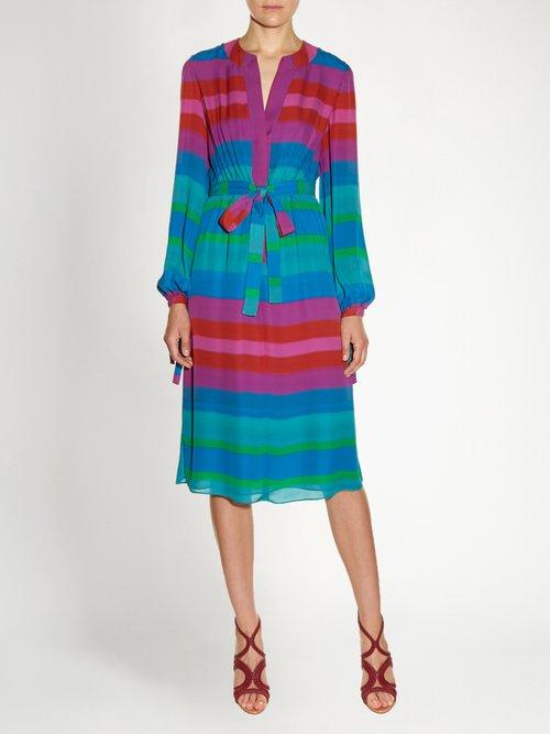 Striped tie-waist silk-crepe shirtdress by Etro