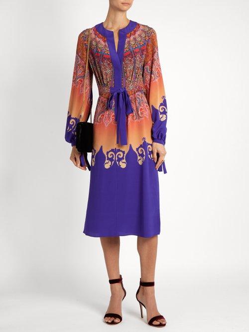 Tie-waist paisley-print silk-georgette dress by Etro