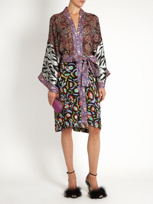 Multi-print kimono georgette dress by Duro Olowu