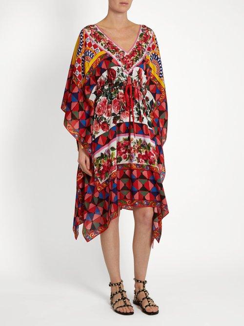 Carretto-print silk crepe de Chine kaftan by Dolce & Gabbana