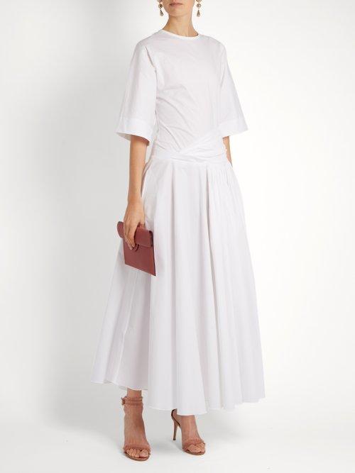 Drop-waist stretch-cotton poplin dress by Rochas