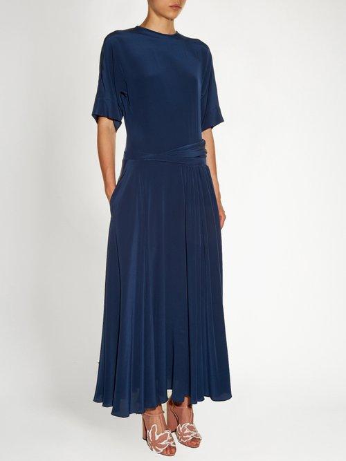 Dropped-waist silk crepe de Chine dress by Rochas