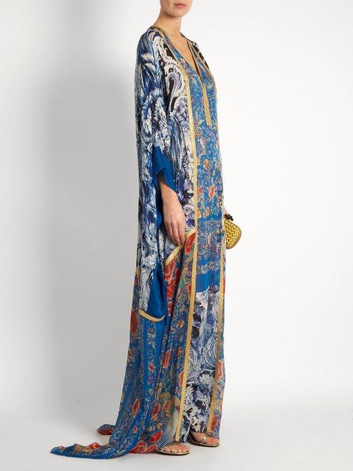 Phoenix-print silk-satin gown by Roberto Cavalli