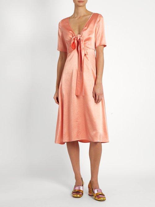 Tie-front V-neck satin dress by Sies Marjan