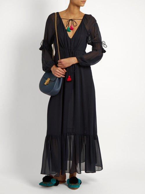 Nicolete V Neck Silk Georgette Dress by Figue