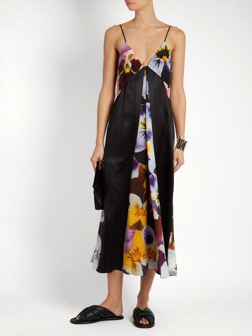 Pansy-print silk-crepe slip dress by Christopher Kane
