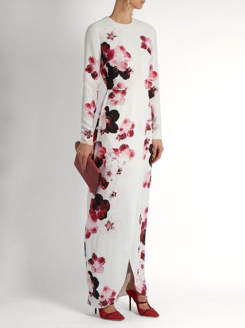 Floral-print crepe gown by Elie Saab