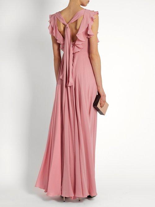 Ruffled silk-georgette gown by Elie Saab