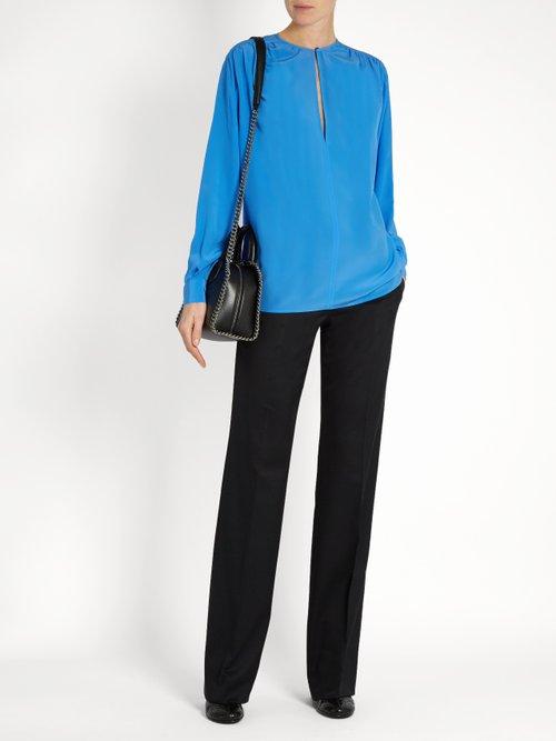 Gathered round-neck silk blouse by Stella Mccartney