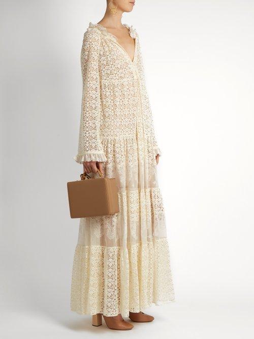Deep V-neck lace maxi dress by Stella Mccartney