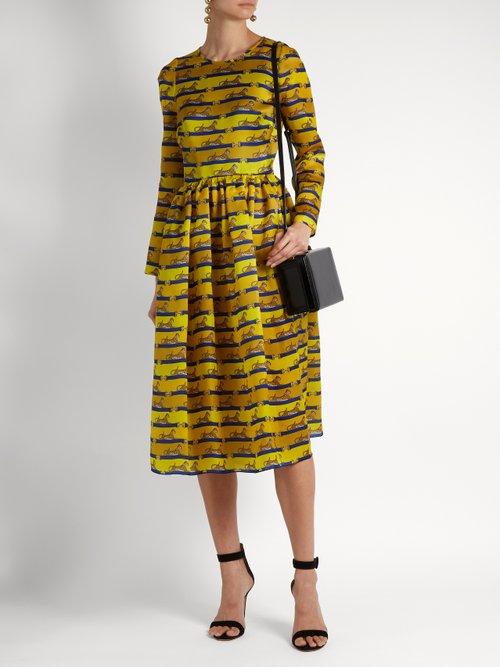 Wilson striped cheetah-print silk dress by Mary Katrantzou