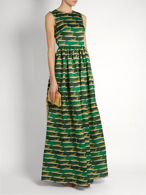 Shaw striped cheetah-print organza dress by Mary Katrantzou