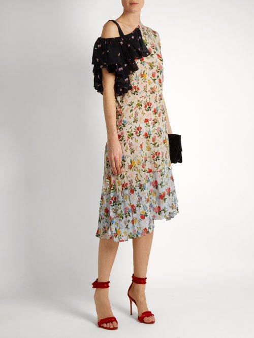 Jacqui asymmetric floral-print crepe dress by Preen Line