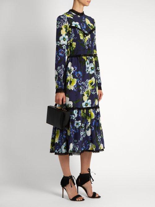 Georgie Hasu Night-print silk-crepe dress by Erdem
