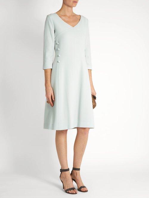 Darling V-neck wool-crepe dress by Goat