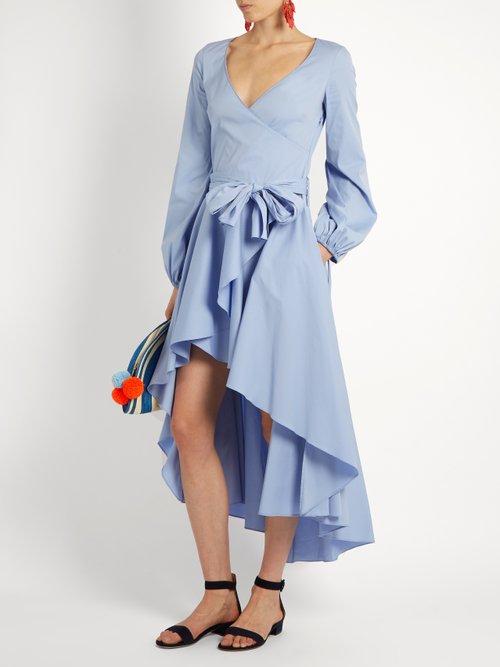 Lena asymmetric-hem cotton-blend wrap dress by Caroline Constas