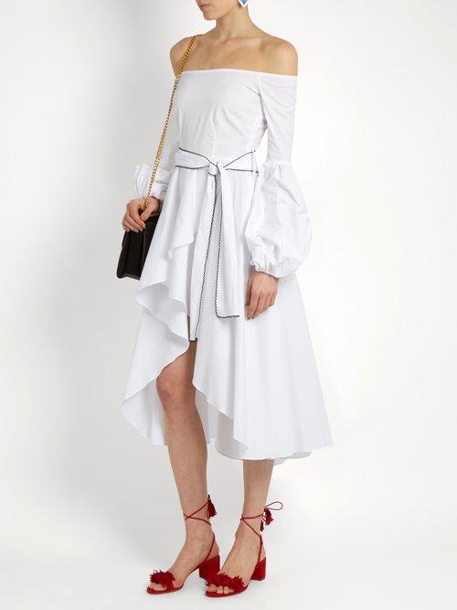 Kleo off-the-shoulder cotton-blend dress by Caroline Constas