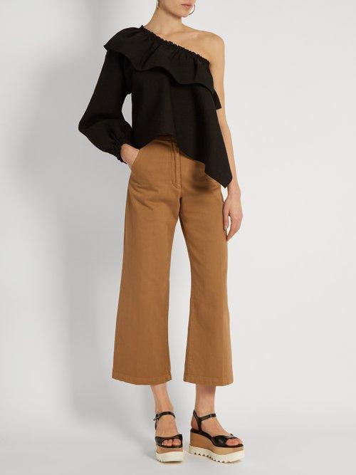 Georgia asymmetric-ruffled cotton-blend top by Rachel Comey