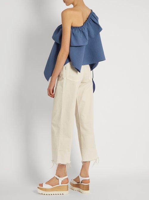 Georgia Asymmetric Ruffled Cotton Blend Top by Rachel Comey