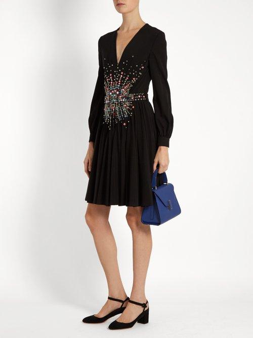 Plunging embellished silk mini dress by Miu Miu
