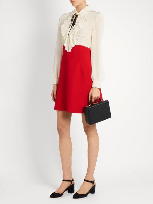Bi-colour ruffled crepe de Chine dress by Miu Miu