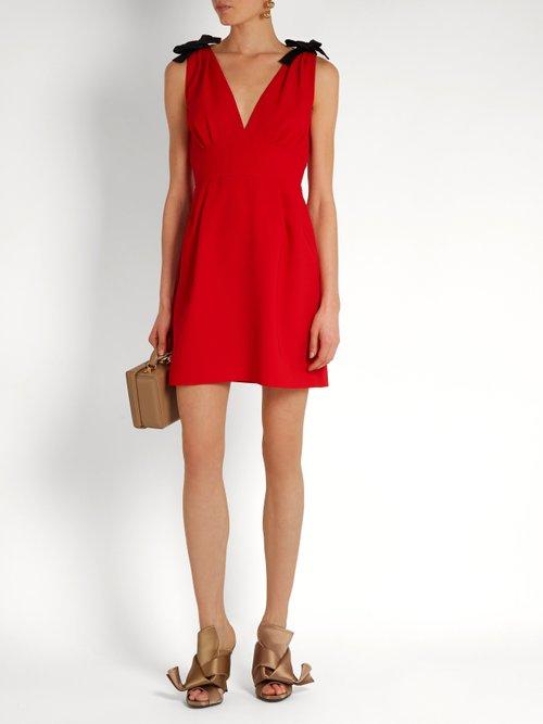 Deep V-neck sleeveless cady mini dress by Miu Miu