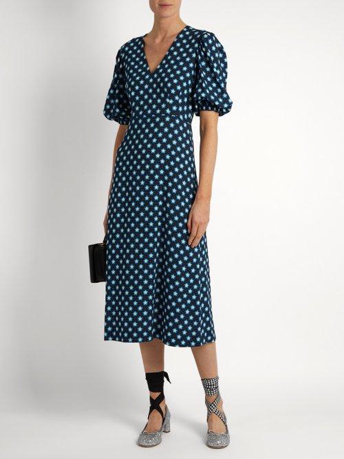 Star-print V-neck crepe midi dress by Miu Miu