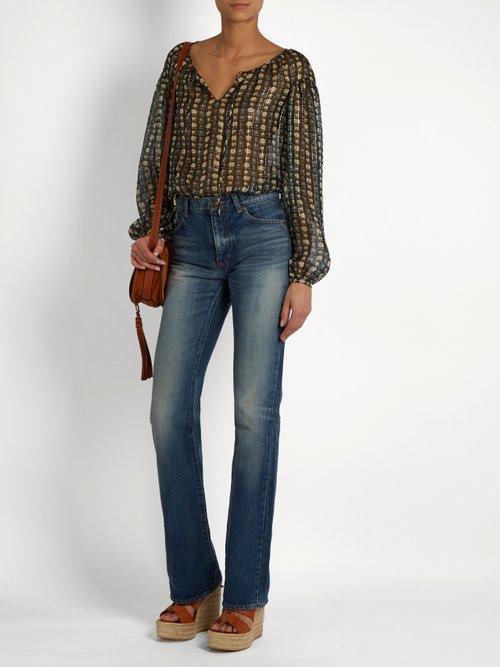 Photo of Floral-print georgette blouse by Saint Laurent - shop Saint Laurent tops and blouses online sales