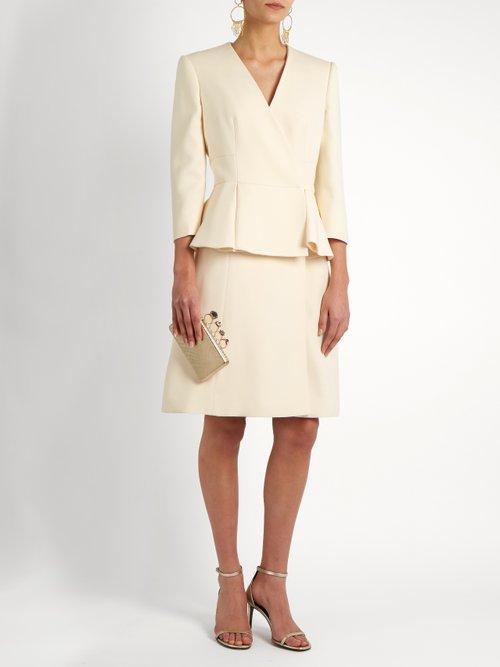 Peplum-waist wool and silk-blend dress by Alexander Mcqueen