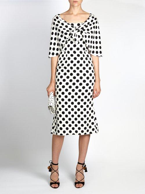 Tie-front polka-dot print charmeuse dress by Dolce & Gabbana