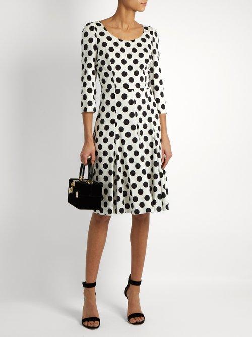 Polka-dot print silk-blend charmeuse dress by Dolce & Gabbana
