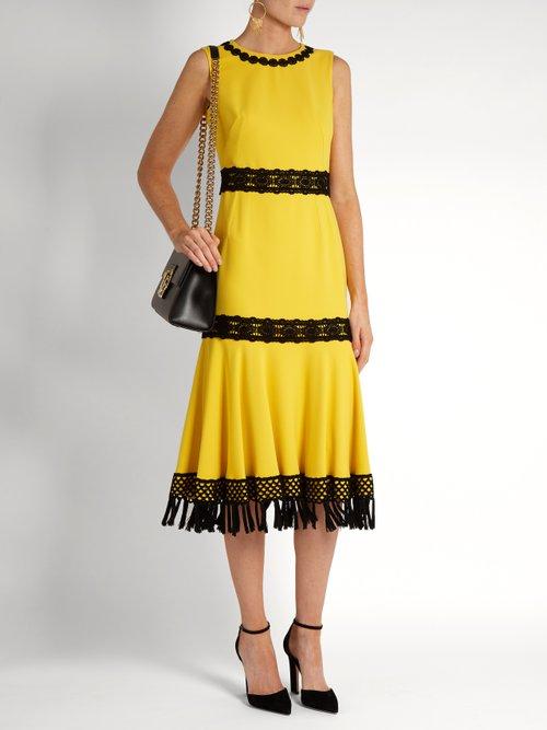 Crochet-trimmed stretch-cady dress by Dolce & Gabbana