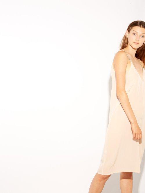 V-neck silk slip dress by Raey
