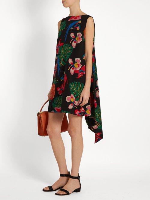 Tropical Dream-print silk crepe de Chine dress by Valentino