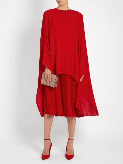 Detachable-cape silk-crepe dress by Valentino