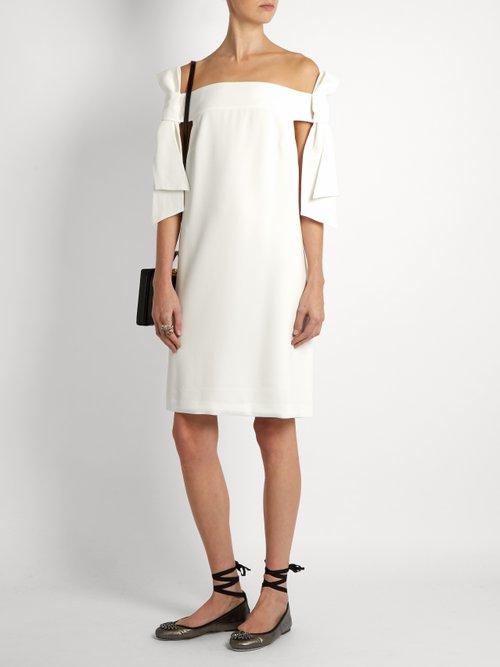 Off-the-shoulder crepe dress by Tibi