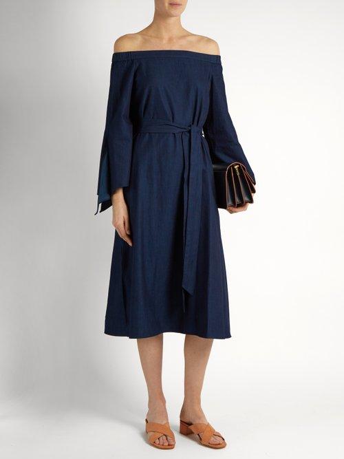 Off-the-shoulder tie-cuff denim dress by Tibi