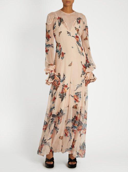 Fish-print silk-chiffon maxi dress by Katie Eary