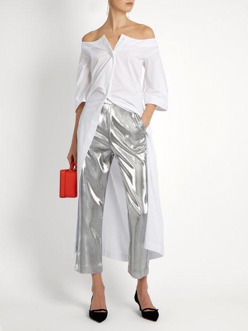 Button-down cotton-poplin dress by Isa Arfen