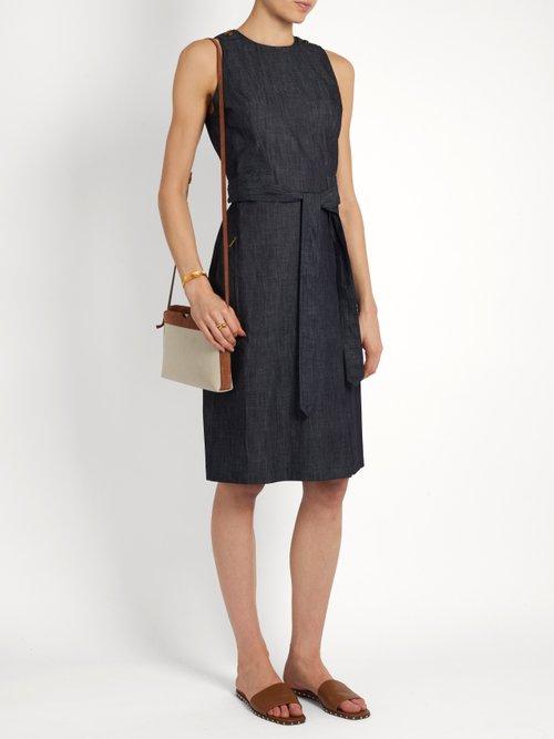 Sleeveless denim dress by Tomas Maier