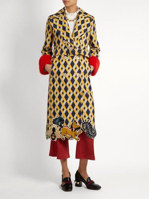 Geometric Print Fur Trimmed Wool Blend Coat by Gucci
