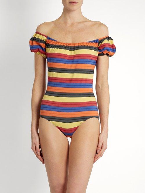 Leandra striped swimsuit by Lisa Marie Fernandez