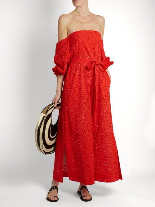 Balloon-sleeve off-the-shoulder cotton dress by Lisa Marie Fernandez