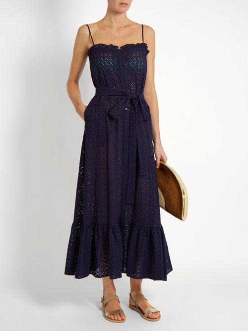 Ruffled-hem broderie-anglaise cotton slip dress by Lisa Marie Fernandez