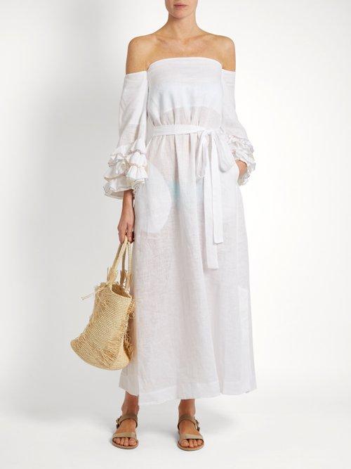 Rosie off-the-shoulder linen dress by Lisa Marie Fernandez