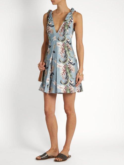 Winsome floral-print linen trapeze dress by Zimmermann