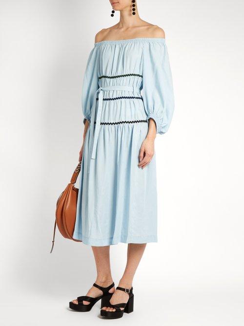 Ric-rac trimmed off-the-shoulder dress by Sonia Rykiel